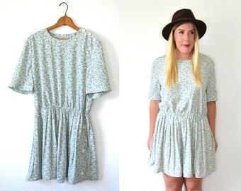 Mint Green Dress - Easter Dress - Mint Floral Dress - Mint Dress - Pleated Dress