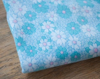 Mod Daisies- Vintage Fabric 60s New Old Stock Flannel Pink Turquoise Fun