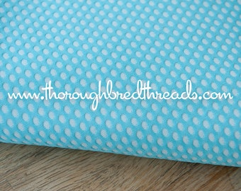 Turquoise Polka Dots- Vintage Fabric Whimsical Novelty New Old Stock 70s Adorable