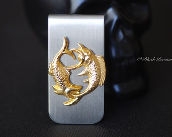 Pisces Money Clip - Vintage Polished Brass Stamping Zodiacs Astrology Signs - STAINLESS STEEL Clip - Insurance Included