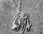 Loss of Husband/Child/Baby Angel Wing and Initial Script Necklace- sterling silver, select crystal color- Memorial, remembrance