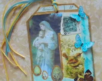 Wonderful Mother - A Mixed Media Hand Made Collage Tag/Mothers Day/Junk Journal/Art