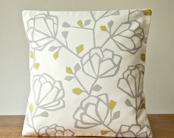 grey mustard yellow white floral decorative pillow cover, 16 inch flowers cushion cover 40 cm