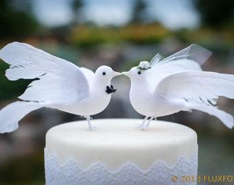 Lovey Dove Wedding Cake Topper: Elegant Bride & Groom Love Bird Cake Topper