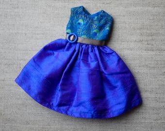 Blythe Dress - Peacock and Purple Silk