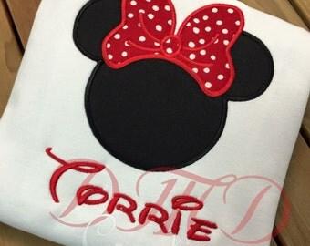 Minnie outline applique   Shirt