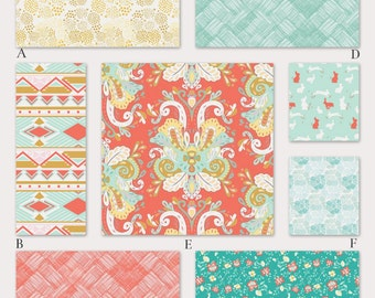 Tribal Aztec Coral and Aqua Custom Crib and Baby Bedding - Anne Elise Collection