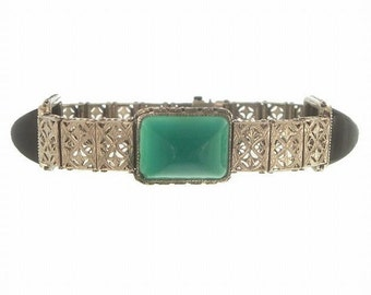 Art Deco Filigree Bracelet, Walter Lampl Designer Sterling Onyx Jade Link, Antique 1920s Statement Vintage Art Deco Jewelry