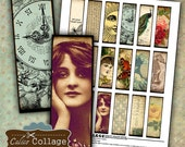 Eclectic Dreams Digital Collage Sheet 1x3 Collage Sheets Microslide Images for Pendants Decoupage Paper Printable Images Calico Collage