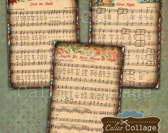 Christmas Music, Sheet Music, Digital Collage, Collage Sheet, Vintage Christmas, 2.5x3.5 ATC Size, Printable Tags, Gift Tags, CalicoCollage