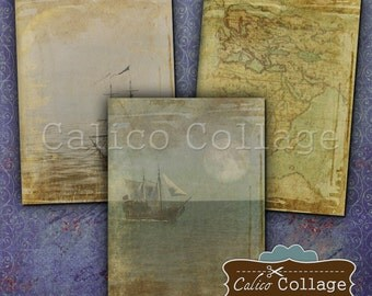Out to Sea Digital Collage Sheet 2.5x3.5 ATC Size Images for Decoupage Paper, Jewelry Cards, Junk Journals, Ships, Boats, Pirates, Ephemera