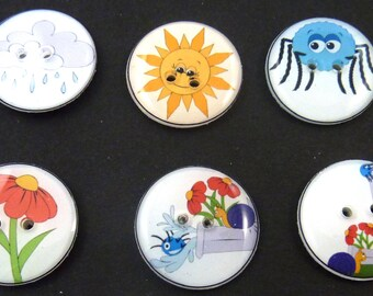 "6 Itsy Bitsy Spider Buttons.  Itsy Bitsy Spider Children's Sewing Buttons. Handmade By Me. Nursery Rhyme Buttons.  3/4"" or 20 mm."