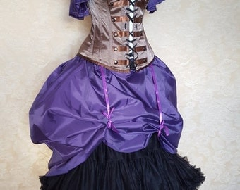 Clearance Purple Steampunk Full Length Bustle Skirt-One Size Fits All