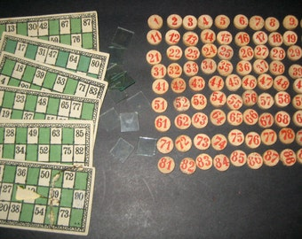 Vintage Lotto Game - 6 Cards and 89  Numbers - for Playing or Crafting