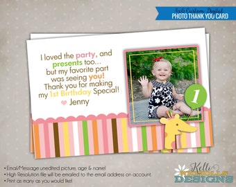 Sweet at One Girl Photo Birthday Thank You Card, Girl 1st Birthday Thank You Note with Picture #B113-G