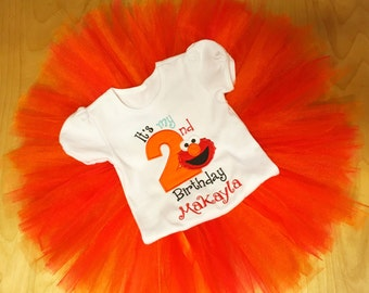 Elmo Birthday Outfit/Elmo 1st Birthday/Elmo Birthday Shirt Girl/Elmo 2nd Birthday/Elmo tutu outfit/Elmo Shirt/Elmo Onesie/Elmo tutu/Sesame