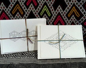 Isometric all occasion note cards- Color Your Own Design! 4 pack