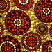 African Fabric 1/2 Yard LIGHTWEIGHT Cotton ORANGE BROWN Beige Abstract Circles