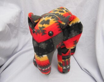 Navajo blanket elephant, gray fire, stuffed animal, plush, plushie, gray and black, native indian elephant, elephant plush, plush elephant