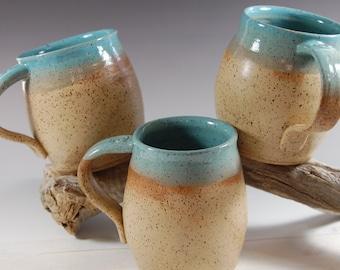 Large Pottery Mug, Turquoise With Bamboo glaze
