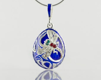 Dragonfly Pendant Egg, Jewelry Necklace Blue Enamel Sterling Silver, Dragonfly on Leaves Pendant, Clear, Red, Green, Crystals Gift For Her