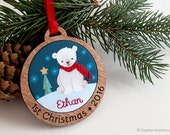 Baby's First Christmas Ornament Personalized Hand Embroidered Custom Polar Bear Holiday Keepsake for 2016