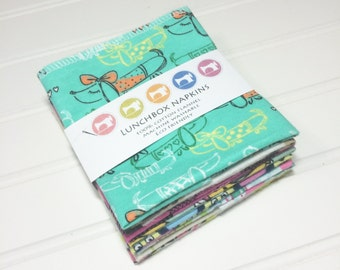 Lunchbox cloth napkins set of 8 washable eco friendly towels GIRL themed 0042