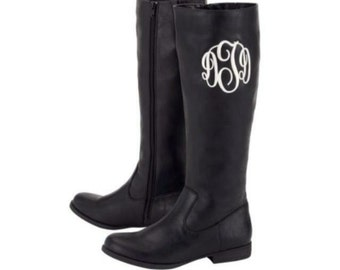 Brooklyn monogrammed black boots