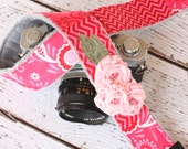 Cute Camera Strap - Pink Patchwork Camera Strap - dSLR Camera Strap - Camera Strap for Nikon, Canon