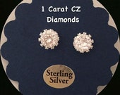 1 PAIR 1 Carat Diamond Earrings cz - Post Sterling Silver - Bridesmaids Earrings - Maid of Honor - Bridal Gift for Her,  FREE SHIPPING
