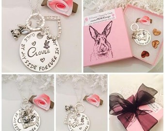 Custom Pet Memorial Necklace - Personalized Pet Memorial Jewelry - Sterling Silver - Loss of Bunny, Rabbit, In Memory of CLOVER