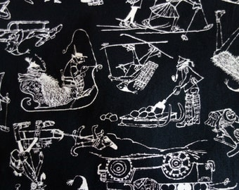Vintage 1950s Fabric, Three Yards of M. Lowenstein & Sons Black Cotton Fabric with Winter Scenes of People in Cute Hats Sledding and Skiing