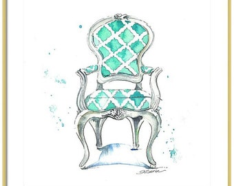 Watercolor Chair Art Print-Aqua Chair Painting-Chair Wall Art-Girls Room-Office Art-Various Sizes