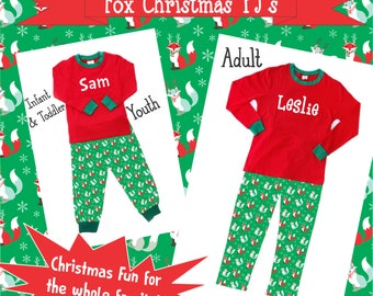Fox Christmas Pajamas Pre-Order - Infant, childrens, & adult With Monogram or Name! - Family Christmas Pajamas, Children's Christmas Pajamas