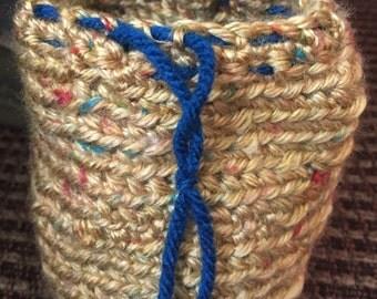 Golden Crochet Dice Bag