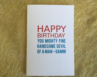 Men's birthday card, male card, card for boyfriend, card for husband,  greeting card, funny card, Friendship card, friend card, blue and red