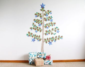 Christmas Tree wall decal with Paua Stars and Pohutukawa flowers – fabric wall stickers