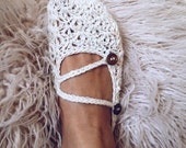 Instant download  - Crochet PATTERN (pdf file) - Meringue Double strap Slippers