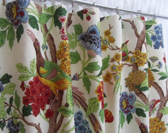 "Bright Floral Curtains, Bird Window Drapes, Multi-Colored Floral Curtains, Red Blue Home Decor, Window Treatments, Rod Pocket, One Pair 50""W"