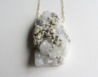 Huge Pyrite and White Quartz Necklace with Gold Fill - Handmade in Seattle - Ready to Ship - Gold and White Statement Metallic Natural Stone