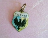 Vintage Travel Shield Sterling Silver Charm Enamel Trento Collectible Jewelry