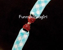 Mini Ruby Slipper Red Rhinestone Bow Baby Headband Light Blue and White Gingham Sparkly Connector Elastic Dorothy Inspired Kids Costume