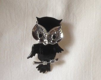 Vintage Owl Pin Articulated Owl Brooch Enameled Owl Pin