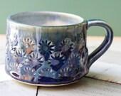 SECONDS coffee mug handmade, blue