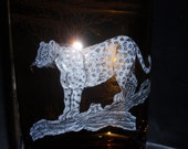 Leopard images, Glass Carved Leopard, Brown Carved Glass, Etched Leopard,  African Safari, African Big Five Images, Wedding Gift, Glass Gift