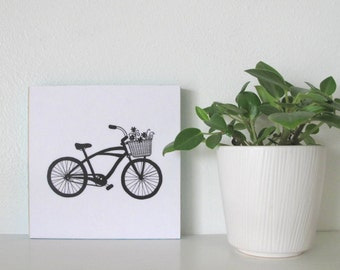 Bicycle wall art, wood block art, cruiser bike design, wall decor, 6 x 6 inch art print