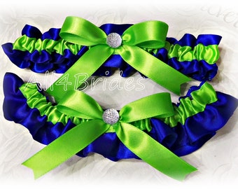 Cobalt Blue and Lime Green wedding bridal leg garter set, Peacock Blue and Green bridal wedding garters something blue garters.