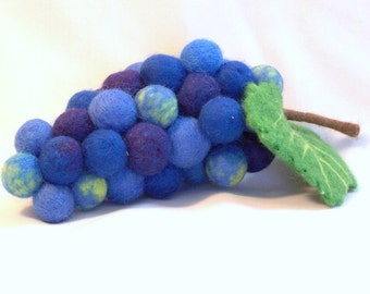 Needle Felted Bunch of Grapes - Blue Concord Grapes - Life size