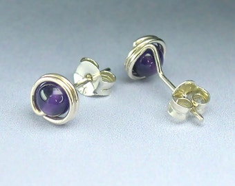 4mm Amethyst Sterling Silver Stud Earrings, Modern Gemstone Posts, February Birthstone / gift under 40