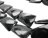 Black Onyx Beads, 29mm x 36mm, Luxe AAA, Large Faceted Rectangle, Black Gemstone, SKU 3627